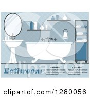 Clipart Of A Blue Bathroom Interior With A Tub And Sink Royalty Free Vector Illustration by Vector Tradition SM
