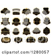 Clipart Of Black And Gold Labels With Sample Text Royalty Free Vector Illustration