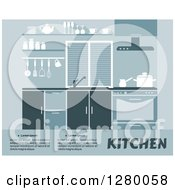 Clipart Of A Blue Kitchen Interior Design With Sample Text Royalty Free Vector Illustration