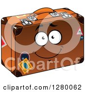 Clipart Of A Goofy Cartoon Suitcase Character Royalty Free Vector Illustration