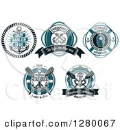 Clipart Of Blue Nautical Designs With Text Royalty Free Vector Illustration