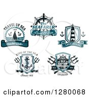 Clipart Of Nautical Yacht Helm Lighthouse Anchor And Trident Designs Royalty Free Vector Illustration by Seamartini Graphics