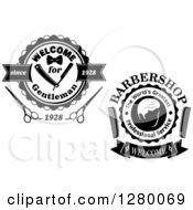 Clipart Of A Welcome For Gentleman Barber Shop Design With A Comb And Scissors Royalty Free Vector Illustration by Vector Tradition SM
