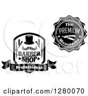 Clipart Of Black And White Barber Shop Designs Royalty Free Vector Illustration by Vector Tradition SM