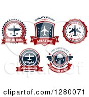 Clipart Of Airplane Tours And Food Drop Labels Royalty Free Vector Illustration by Seamartini Graphics