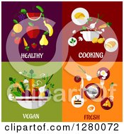 Clipart Of Healthy Cooking Vegan And Fresh Food Designs Royalty Free Vector Illustration by Seamartini Graphics