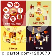 Poster, Art Print Of Fish And Meat Fast Food Bakery And Drinks Designs