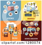 Clipart Of Science Architect Media And School Education Designs Royalty Free Vector Illustration by Vector Tradition SM