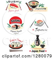 Clipart Of Japanese Cuisine Items And Text Royalty Free Vector Illustration