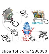 Clipart Of Computer Cursors Shopping Carts Groceries Buildings And Electronics Royalty Free Vector Illustration by Vector Tradition SM