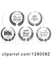 Clipart Of Black And White Wreath Quality Labels Royalty Free Vector Illustration