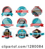 Clipart Of Red Tuquoise And Black Quality Labels Royalty Free Vector Illustration