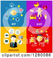 Clipart Of Boy Baby Education And Girl Designs With Text Royalty Free Vector Illustration by Seamartini Graphics