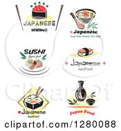 Clipart Of Asian And Sushi Food Designs With Text Royalty Free Vector Illustration