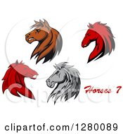 Clipart Of Brown Gray And Red Horse Heads With Text Royalty Free Vector Illustration by Seamartini Graphics