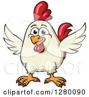 Clipart Of A Happy White Cartoon Chicken Over Farm Text Royalty Free Vector Illustration by Seamartini Graphics