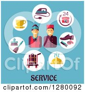 Clipart Of Happy Hotel Service Workers And Icons Over Text On Blue Royalty Free Vector Illustration