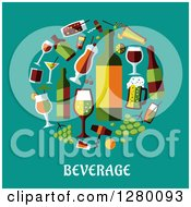 Clipart Of Beverages With Text On Turquoise Royalty Free Vector Illustration by Seamartini Graphics