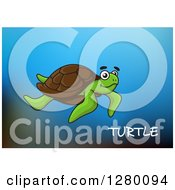 Clipart Of A Swimming Sea Turtle And Text Over Blue Royalty Free Vector Illustration by Vector Tradition SM