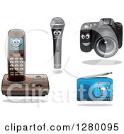 Clipart Of Happy Smiling Microphone Telephone Camera And Radio Characters Royalty Free Vector Illustration