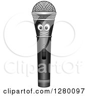 Clipart Of A Happy Smiling Microphone Character Royalty Free Vector Illustration by Seamartini Graphics
