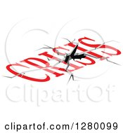 Clipart Of A Crack And Red Crisis Text Royalty Free Vector Illustration