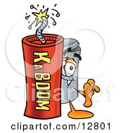 Clipart Picture Of A Garbage Can Mascot Cartoon Character Standing With A Lit Stick Of Dynamite by Toons4Biz