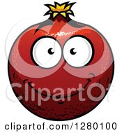 Clipart Of A Smiling Pomegranate Character Royalty Free Vector Illustration by Seamartini Graphics