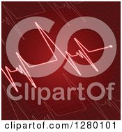 Clipart Of A Red Electrocardiogram Heart Beat Background Royalty Free Vector Illustration