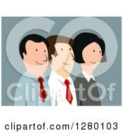 Clipart Of A Happy Business Team Of Men And Women On Blue Royalty Free Vector Illustration