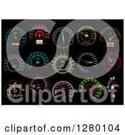 Clipart Of Colorful Illuminated Speedometers On Black 2 Royalty Free Vector Illustration by Seamartini Graphics