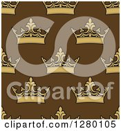 Clipart Of A Seamless Background Pattern Of Crowns On Brown Royalty Free Vector Illustration