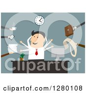 Clipart Of A Happy Businessman Multi Tasking At An Office Royalty Free Vector Illustration by Seamartini Graphics