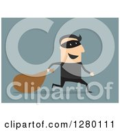 Clipart Of A Happy Male Bank Robber Running With A Sack On Blue Royalty Free Vector Illustration