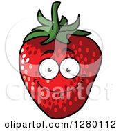 Clipart Of A Smiling Strawberry Character Royalty Free Vector Illustration by Seamartini Graphics
