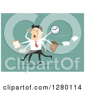 Clipart Of A Stressed Businessman Multitasking And Running On Green Royalty Free Vector Illustration by Seamartini Graphics