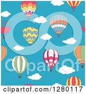 Clipart Of A Seamless Background Pattern Design Of Hot Air Balloons And Sky Royalty Free Vector Illustration