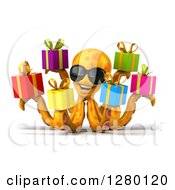 Clipart Of A 3d Orange Octopus Facing Right Wearing Sunglasses And Holding Gifts Royalty Free Illustration by Julos
