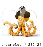 Clipart Of A 3d Orange Pirate Octopus Smiling To The Left Royalty Free Illustration