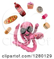 Clipart Of A 3d Pink Octopus Wearing Sunglasses And Swimming With Junk Foods Royalty Free Illustration by Julos