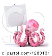 Clipart Of A 3d Pink Octopus Smiling And Holding A Blank Sign Royalty Free Illustration by Julos