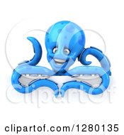Clipart Of A 3d Blue Octopus Smiling Over A Sign Royalty Free Illustration by Julos
