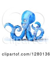 Clipart Of A 3d Blue Octopus Facing Left And Gesturing With One Tentacle Royalty Free Illustration by Julos