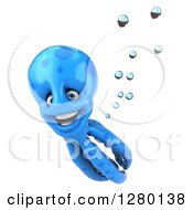 Clipart Of A 3d Blue Octopus Smiling And Swimming 2 Royalty Free Illustration by Julos