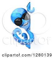 Clipart Of A 3d Blue Octopus Wearing Sunglasses Around A Sign Royalty Free Illustration by Julos