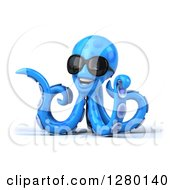Clipart Of A 3d Blue Octopus Wearing Sunglasses Twisting And Facing To The Left Royalty Free Illustration by Julos