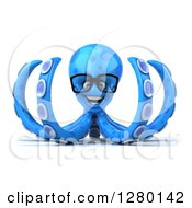 Clipart Of A 3d Bespectacled Blue Octopus Facing Left Royalty Free Illustration