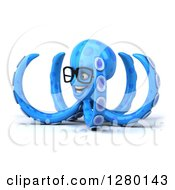 Clipart Of A 3d Bespectacled Blue Octopus Facing Left Royalty Free Illustration by Julos