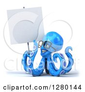 Clipart Of A 3d Bespectacled Blue Octopus Facing Left Smiling And Holding Up A Blank Sign Royalty Free Illustration