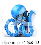 Clipart Of A 3d Bespectacled Blue Octopus Smiling And Pointing Around A Sign Royalty Free Illustration